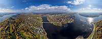 Panoramic aerial view of Kostroma cityscape, Russia