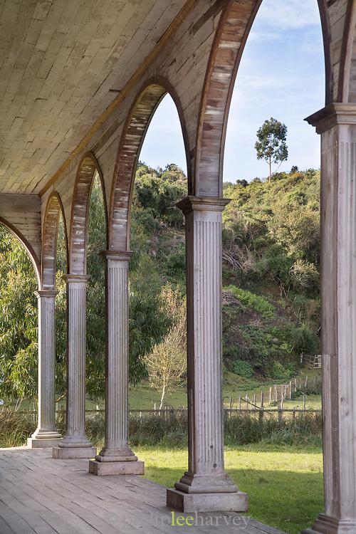 Church of Quinchao columns on Chiloe Island, Chile