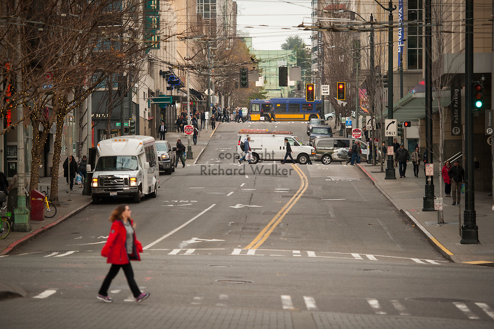 2017 DECEMBER 12 - View of Union Street looking East from 1st Avenue, downtown Seattle, WA, USA. By Richard Walker