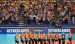 01-06-2014 NED: WLV Nederland - Zuid Korea, Eindhoven <br /> Line up Nederlands team met het Oranje publiek