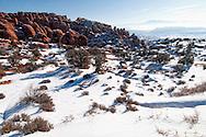 Fiery Furnace area, La Sal Mountains, Arches National Park, Utah, winter.