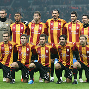 Galatasaray's players (Left to Right) (Front Row) Serkan KURTULUS, Sabri SARIOGLU, Emre COLAK, Juan Emmanuel CULIO, Ayhan AKMAN (Back Row) (Left to Right) goalkeeper Ufuk CEYLAN, Colin Kazim RICHARDS, Lorik CANA, Servet CETIN, Hakan BALTA, Arda TURAN during their Friendly soccer match Galatasaray between Ajax at the Turk Telekom Arena at Arslantepe in Istanbul Turkey on Saturday 15 January 2011. Turkish soccer team Galatasaray new stadium Turk Telekom Arena opening ceremony. Photo by TURKPIX