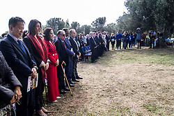 November 10, 2018 - Athens, Greece - Officials pay respect to the victims of the deadly wildfires in Greece last summer. The opening ceremony of the 36th Athens Authentic Marathon took place today at the Marathonas Tomb where the battle between Athenians and Persians took place in 480 bc. After the win for Athenians, a runner run all the way to Athens to bring the good news and died from exhaustion right after, therefore the event is inspired from that incident. (Credit Image: © Kostas Pikoulas/Pacific Press via ZUMA Wire)