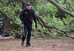 April 7, 2018 - Augusta, GA, USA - Phil Mickelson after hitting out of the woods on the 1st hole during the third round of the Masters Tournament on Saturday, April 7, 2018, at Augusta National Golf Club in Augusta, Ga. (Credit Image: © Curtis Compton/TNS via ZUMA Wire)