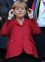 Fotball<br /> VM 2010<br /> Tyskland v Argentina<br /> 03.07.2010<br /> Foto: Witters/Digitalsport<br /> NORWAY ONLY<br /> <br /> Bundeskanzlerin Dr. Angela Merkel (CDU)<br /> Fussball WM 2010 in Suedafrika, Viertelfinale, Argentinien - Deutschland