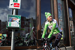 Sofie De Vuyst (BEL) of Lares Waowdeals Cycling Team warms up for the Liege-Bastogne-Liege Femmes - a 135.5 km road race, between  Bastogne and Ans on April 23, 2017, in Liege, Belgium.