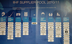 List of IIHF Supplier Pool 2010/11 in Slovenian wardrobe prior to the ice-hockey match between Slovenia and Latvia of IIHF 2011 World Championship Slovakia, on May 5, 2011 in Orange Arena, Bratislava, Slovakia.  (Photo By Vid Ponikvar / Sportida.com)