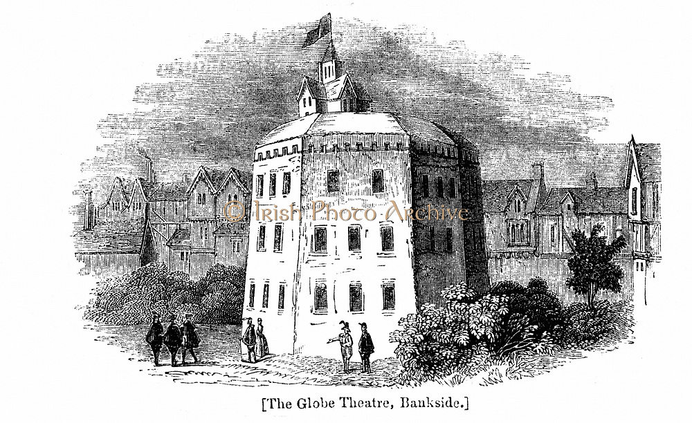 Globe Theatre, Bankside, Southwark, London, as it appeared c1597. Wood engraving after contemporary drawing.