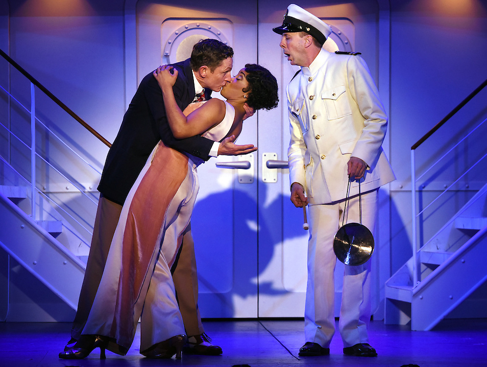 """April 7, 2016, East Haddam, CT<br /> Mara Lavitt -- Special to the Hartford Courant<br /> The run-through of  the classic Cole Porter musical """"Anything Goes"""" being performed at Goodspeed Musicals in East Haddam. David Harris as Billy Crocker, Rashidra Scott as Reno Sweeney with Patrick Richwood at the Purser, right."""