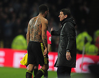 Football - 2018 / 2019 Premier League - Watford vs. Arsenal<br /> <br /> Troy Deeney of Watford is consoled by Manager, Javi Gracia after taking his shirt off as he walks off after being sent off by Referee,Craig Pawson, at Vicarage Road.<br /> <br /> COLORSPORT/ANDREW COWIE