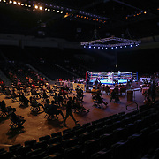 DAYTONA BEACH, FL - AUGUST 15:  Spectators social distance during a Christy Martin Promotions boxing match between Alberto Palmetta and Tre'Sean Wiggins at the Ocean Center on August 15, 2020 in Daytona Beach, Florida. (Photo by Alex Menendez/Getty Images) *** Local Caption *** Tre'Sean Wiggins; Alberto Palmetta