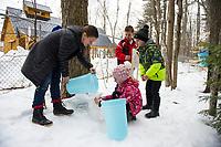 Maple Sugaring at Gilford Elementary School.  ©Karen Bobotas Photographer