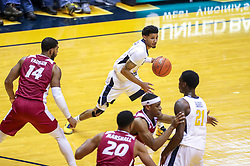 Nov 28, 2018; Morgantown, WV, USA; West Virginia Mountaineers guard James Bolden (3) passes the ball during the first half against the Rider Broncs at WVU Coliseum. Mandatory Credit: Ben Queen-USA TODAY Sports