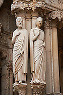 Gothic statues  from the North porch of Cathedral of Chartres, France. . A UNESCO World Heritage Site. .<br /> <br /> Visit our MEDIEVAL ART PHOTO COLLECTIONS for more   photos  to download or buy as prints https://funkystock.photoshelter.com/gallery-collection/Medieval-Middle-Ages-Art-Artefacts-Antiquities-Pictures-Images-of/C0000YpKXiAHnG2k