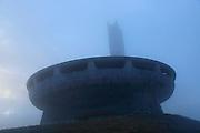 Buzludzha monument former communist party headquarters, Bulgaria, eastern Europe in dense fog