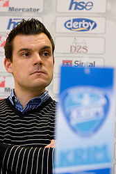 Jaka Kravanja at press conference of Krim before Champions League handball match RK Krim Mercator vs. HC Leipzig, on February 10, 2010 in M Hotel, Ljubljana, Slovenia.  (Photo by Vid Ponikvar / Sportida)