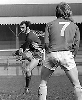 Sammy Lunn, footballer, Portadown FC, N Ireland, April, 1973, 197304000240<br /> <br /> Copyright Image from Victor Patterson, 54 Dorchester Park, Belfast, UK, BT9 6RJ<br /> <br /> t1: +44 28 9066 1296 (from Rep of Ireland 048 9066 1296)<br /> t2: +44 28 9002 2446 (from Rep of Ireland 048 9002 2446)<br /> m: +44 7802 353836<br /> <br /> e1: victorpatterson@me.com<br /> e2: victorpatterson@gmail.com<br /> <br /> The use of my copyright images is subject to my Terms & Conditions.<br /> <br /> It is IMPORTANT that you familiarise yourself with them. They are available on my website at www.victorpatterson.com.<br /> <br /> None of my copyright images may be used on a website unless they are visibly watermarked, i.e. © Victor Patterson within the body of the visible image. Metadata denoting my copyright must NOT be deleted. <br /> <br /> Web use is extra at currently recommended NUJ rates.