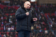 Moscow, Russia, 23/02/2003..Russian Prime Minister Vladimir Putin addressing a crowd of some 130,000 people at a presidential election campaign rally in Luzhniki sports stadium.