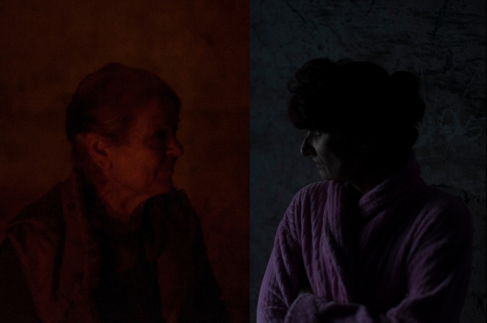 Left: Portrait of an elderly woman living for several months in the basement of a bombed hospital in Donetsk's Kievsky district.<br /> <br /> Right: Portrait of woman in a coal mine used as a bomb shelter in Petrovskiy district, outside Donetsk.
