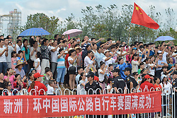 September 16, 2016 - Wuhan, China - Members of the public at the start line of the final sixth stage, 99.6km Wuhan Xinzhou Circuit race, of the 2016 Tour of China 1...On Friday, 16 September 2016, in Xinzhou, Wuhan, China. (Credit Image: © Artur Widak/NurPhoto via ZUMA Press)
