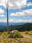 """A rock cairn marks """"Indian Post Office,"""" a place along the Lolo Trail where messages were left. Clearwater National Forest, Idaho, United States."""