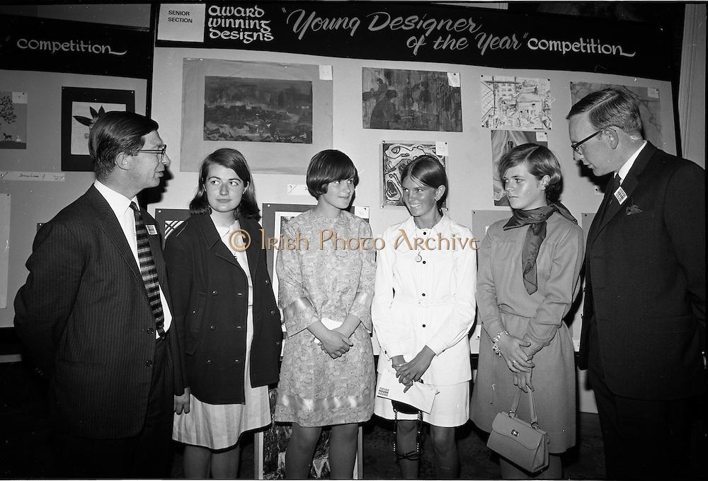 "28/06/1967<br /> 06/28/1967<br /> 28 June 1967<br /> Presentation of prizes at Navan Carpets ""Young Designer of the Year"" reception in the Royal Hibernian Hotel, Dublin. Image shows (l-r): Mr. Wilson, Navan Carpets Ltd.; Miss Bernadette Madden, Donnybrook, Dublin; Miss Eileen Duggan, Baldoyle, Co. Dublin; Miss Susan Dubsky, Dun Laoghaire; Miss Angela Mcinnerney, Foxrock, Dublin and Mr. J. Short, Navan Carpets Ltd. at the reception."