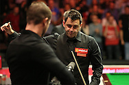 Ronnie O'Sullivan (Eng) gives the thumbs up to the crowd after defeating Neil Robertson (Aus). Ronnie O'Sullivan (Eng) v Neil Robertson (Aus), Quarter-Final match at the Dafabet Masters Snooker 2017, at Alexandra Palace in London on Thursday 19th January 2017.<br /> pic by John Patrick Fletcher, Andrew Orchard sports photography.