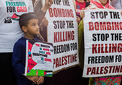 © Licensed to London News Pictures. <br /> 23/07/2014. <br /> <br /> Middlesbrough, United Kingdom<br /> <br /> Members of the Teesside Palestine solidarity campaign group gathered in the centre of Middlesbrough to mount a peaceful demonstration to voice their opposition to the current Israeli actions in Gaza.<br /> <br /> Photo credit : Ian Forsyth/LNP