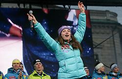 Tina Maze during reception of Slovenian Winter sports Athletes after success at World Championships, on March 19, 2012 in Kongresni trg, Ljubljana, Slovenia. (Photo by Vid Ponikvar / Sportida.com)
