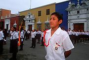PERU, TRUJILLO, FESTIVALS student in parade on Plaza de Armas