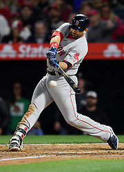 April 18, 2018 - Anaheim, CA, U.S. - ANAHEIM, CA - APRIL 18: Boston Red Sox first baseman Mitch Moreland (18) hits a single and drives in a run in the third inning of a game against the Los Angeles Angels of Anaheim played on April 18, 2018 at Angel Stadium of Anaheim in Anaheim, CA. (Photo by John Cordes/Icon Sportswire) (Credit Image: © John Cordes/Icon SMI via ZUMA Press)