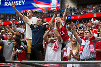 Arsenal fans celebrate their sides second goal     <br /> <br /> <br /> Photographer Craig Mercer/CameraSport<br /> <br /> The Emirates FA Cup Final - Arsenal v Chelsea - Saturday 27th May 2017 - Wembley Stadium - London<br />  <br /> World Copyright © 2017 CameraSport. All rights reserved. 43 Linden Ave. Countesthorpe. Leicester. England. LE8 5PG - Tel: +44 (0) 116 277 4147 - admin@camerasport.com - www.camerasport.com