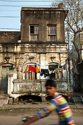 Old French colonial houses on the streets of Chandannagar, India