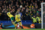 Jamal Lewis of Norwich City (L) scores his team's first goal. The Emirates FA Cup, 3rd round replay match, Chelsea v Norwich City at Stamford Bridge in London on Wednesday 17th January 2018.<br /> pic by Steffan Bowen, Andrew Orchard sports photography.