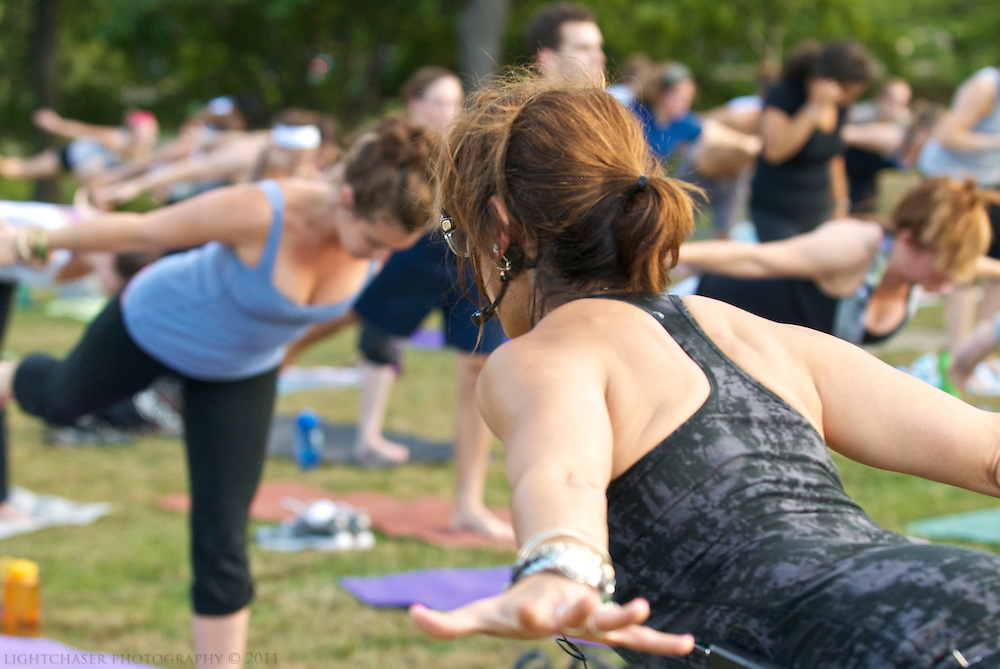 """20110727, Wednesday, July 27, 2011, Boston, MA, USA, LIGHTCHASER PHOTOGRAPHY IMAGE, The Esplanade Association hosted Betty Riaz instructor from Stil Yoga of Dedham and instructor Karen DeTemple for a session of PranaVayu Yoga on the Esplanade's """"island"""" Wednesday evening for sunset yoga part of the association's summer """"Healthy, Fit and Fun"""" program in partnership with the Department of Conservation and Recreation...( lightchaser photography image by j. kiely jr. © 2011 )"""