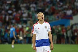 July 7, 2018 - Sochi, Russia - July 07, 2018, Sochi, FIFA World Cup 2018, the playoff round. 1/4 finals of the World Cup. Football match Russia - Croatia at the stadium Fisht. Player of the national team Igor Smolnikov. (Credit Image: © Russian Look via ZUMA Wire)