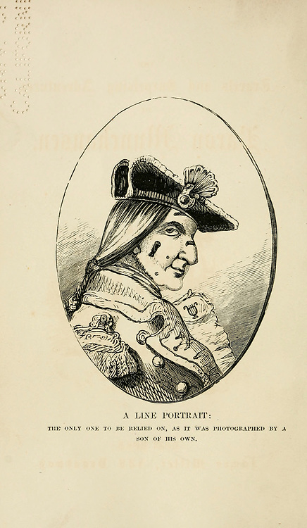 Portrait of Baron Munchausen from The travels and surprising adventures of Baron Munchausen; with illustrations by Alfred Henry Forrester [Alfred Crowquill] Published in New York, James Miller in 1860