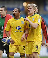 Football - Championship - Millwall vs. Crystal Palace <br /> Jonathan Parr (Palace) with team mate Nathaniel Clyde at the final whistle