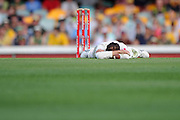 BRISBANE, AUSTRALIA - NOVEMBER 11:  Nathan Lyon of Australia looks dejected during day three of the First Test match between Australia and South Africa at The Gabba on November 11, 2012 in Brisbane, Australia.  (Photo by Matt Roberts/Getty Images)
