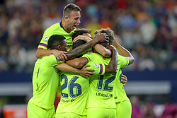 July 31, 2018 - Arlington, TX, U.S. - ARLINGTON, TX - JULY 31: FC Barcelona players celebrate midfielder Rafael Alcantara ''Rafinha'' (12) goal during the International Champions Cup between FC Barcelona and AS Roma on July 31, 2018 at AT&T Stadium in Arlington, TX.  (Photo by Andrew Dieb/Icon Sportswire) (Credit Image: © Andrew Dieb/Icon SMI via ZUMA Press)