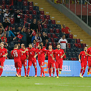 Turkey's Umut Bulut (3ndL) celebrate his goal with team mate during their UEFA Euro 2016 qualification Group A soccer match Turkey betwen Czech Republic at Sukru Saracoglu stadium in Istanbul October 10, 2014. Photo by Aykut AKICI/TURKPIX
