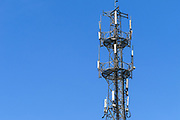 GSM and CDMA cellsite base station antenna array for the cellular telephone system on a lattice communications tower - Nanjing, China <br /> <br /> Editions:- Open Edition Print / Stock Image