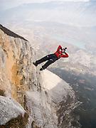 Tim Emmett BASE-jumping from Monte Brento, Italy