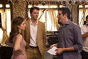 TABLE 19, L-R: ANNA KENDRICK, THOMAS COCQUEREL, DIRECTOR JEFFREY BLITZ ON SET, 2017. PH: JACE DOWNS/TM & COPYRIGHT ©FOX SEARCHLIGHT PICTURES. ALL RIGHTS RESERVED.
