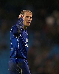 MANCHESTER, ENGLAND - Monday, February 25, 2008: Everton's Phil Neville celebrates his side's 2-0 victory over Manchester City during the Premiership match at the City of Manchester Stadium. (Photo by David Rawcliffe/Propaganda)