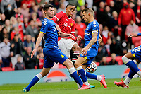 Football - 2021 / 2022 Pre-Season Friendly - Manchester United vs Everton - Old Trafford - Saturday 7th August 2021<br /> <br /> Michael Keane and Lucas Digne of Everton block the progress of Manchester United's Mason Greenwood, at Old Trafford.<br /> <br /> COLORSPORT/ALAN MARTIN