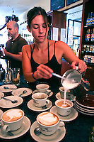 "A barista is a name applied to a coffeehouse employee who prepares  espresso based coffee drinks. The word is borrowed from Italian, where it has the wider meaning of ""bartender"". The term persists in American coffeehouse jargon.  Often, among coffee enthusiasts, the term is reserved for one who has acquired some level of expertise in the preparation of such drinks."