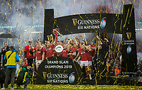 Wales celebrate winning the 6 Nations<br /> <br /> Photographer Bob Bradford/CameraSport<br /> <br /> Guinness Six Nations Championship - Wales v Ireland - Saturday 16th March 2019 - Principality Stadium - Cardiff<br /> <br /> World Copyright © 2019 CameraSport. All rights reserved. 43 Linden Ave. Countesthorpe. Leicester. England. LE8 5PG - Tel: +44 (0) 116 277 4147 - admin@camerasport.com - www.camerasport.com