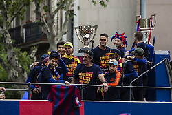 April 30, 2018 - Barcelona, Catalonia, Spain - FC Barcelona's players during the Victory Parade at the streets of Barcelona on 30 of April of 2018 in Barcelona. (Credit Image: © Xavier Bonilla/NurPhoto via ZUMA Press)