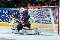 KELOWNA, CANADA - MARCH 26: Connor Ingram #39 of Kamloops Blazers defends the net against the Kelowna Rockets on March 26, 2016 at Prospera Place in Kelowna, British Columbia, Canada.  (Photo by Marissa Baecker/Shoot the Breeze)  *** Local Caption *** Connor Ingram;